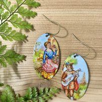 E. Vintage Tin Earrings – Lady & Musician  Mix Matched Pair