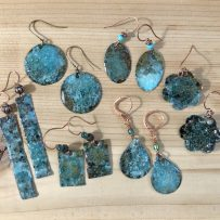 E. Rustic Patina Repurposed Brass Earrings