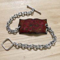 Vitreous Enamel Link Style Bracelet Red Crackle