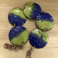 Vitreous Enamel Link Style Bracelet 5 Disc Cobalt and Bitter Green