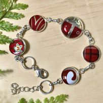 Vintage Tin Bracelet Link Style with Resin Overlay -Multi Red