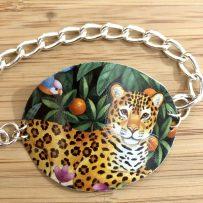 Vintage Tin Bracelet Rustic Cuff Leopard