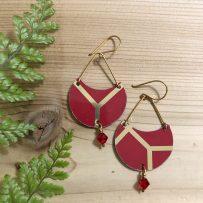 E. Vintage Tin Earrings Red & Gold Demi Lune
