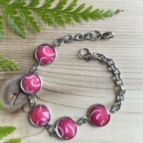 Vintage Tin Bracelet Link Style with Resin Overlay Pink Graphic