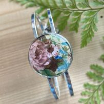 Vintage Tin Hinged Cuff Bracelet Under Resin – Pink Floral