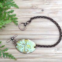 Vitreous Enamel Link Style Bracelet Oval Lime Green and Aqua Crackle