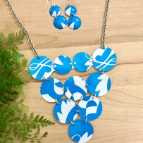 Set -Bold Blue & White Vintage Tin Statement Necklace and Earrings