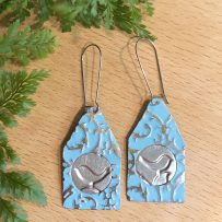 E. Vintage Tin JUMBO Earrings Blue Bird House