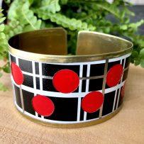 Vintage Tin Cuff Bracelet Red, Black & White