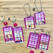 E. Vintage Tin Earrings – Pink Windows