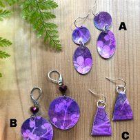 E. Vintage Tin Earrings – Purple Cherry Blossoms 3 Ways