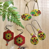 E. Vintage Tin Earrings – Bright and Flashy