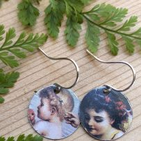 E. Vintage Tin Earrings Happy Cherubs