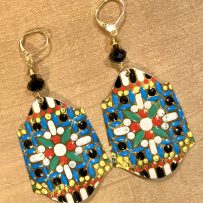 Vintage Tin Jumbo Earrings Black & Gold Graphic Floral