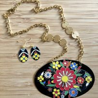 Big, Bold & Colorful Floral Necklace & Earrings Set