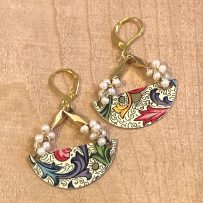 E. Vintage Tin 'Florentina' Earrings with Pearls