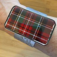 Jumbo Plaid Repurposed Tin, Aluminum  & Resin Cuff Bracelet