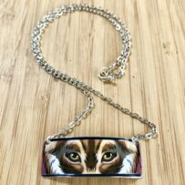 Eyes of the Wolf Repurposed Commemorative Patron Tequila Tin Necklace