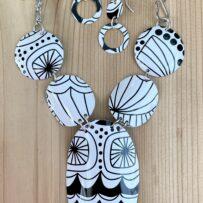 N. Black and White Modern Art Inspired Vintage Tin Necklace & Earrings Set