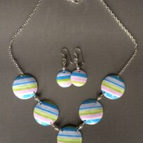 Pastel Stripes Vintage Tin Necklace and Earrings Set