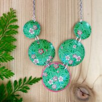 Vintage Tin Pink Cherry Blossoms on Green Necklace Set