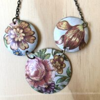 Vintage Tin Three Disc Rustic Shabby Chic Floral Necklace
