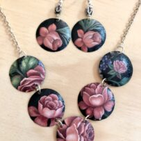 Old Roses Vintage Tin Necklace & Earrings Set