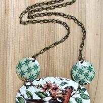 Lovely Bird  Vintage Tin Necklace