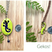 Vitreous Enamel Gecko Pendant Two Ways