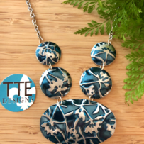 Vintage Tin Teal Ginko Inspired Necklace & Earrings Set