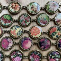 Link Style Bracelet Vintage Tin Under Resin In Antique Brass