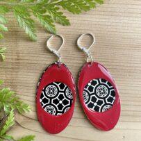 Two Part 'Hoop' Vintage Tin Earrings in Black, White & Red