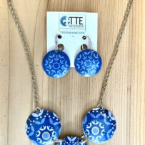 Vintage Tin 3 Disc Blue Mandala Necklace & Earrings Set