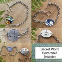 B. Secret Word Reversible Vintage Tin Bracelets