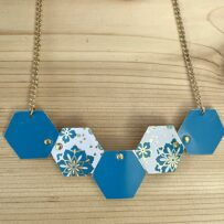 Asian Inspired Teal Blue Vintage Tin 5 Hexagon Statement Necklace