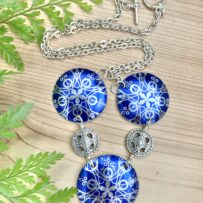 Vintage Tin Abstract Blue Snow Flake Inspired Necklace