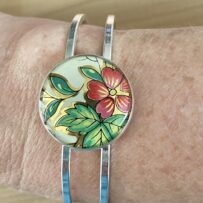 Vintage Tin Hinged Cuff Bracelet Under Resin – Red Floral w/ Green Leaves
