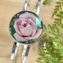 Vintage Tin Cuff Bracelet Under Resin- Pink Rose
