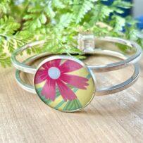 Vintage Tin Cuff Bracelet Under Resin- Pink Daisy