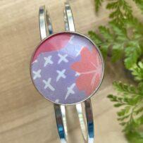 Vintage Tin Hinged Cuff Bracelet Under Resin-Lavender-Pink-White