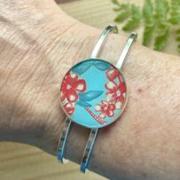 Vintage Tin Hinged Cuff Bracelet- Aqua with Red Flowers