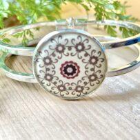 B. Vintage Tin Hinged Cuff Bracelet Under Resin- Brown Mandala