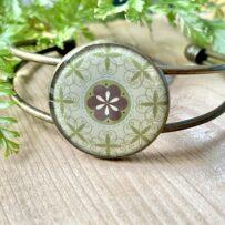 Vintage Tin Cuff Bracelet Under Resin – Antique Brass with Mandala