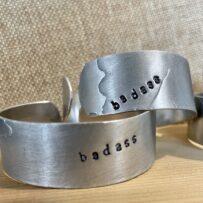 BADASS Irreverent Repurposed Aluminum Platter Cuff Bracelets