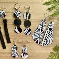 Vintage Tin Black & White Earrings 4 Ways