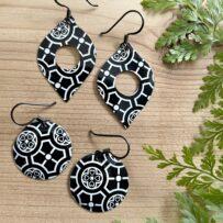 Vintage Tin Black & White Patterned Earrings