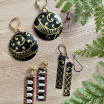 Vintage Tin Black & Gold Earrings 3 Ways