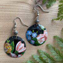 Vintage Tin Floral on Black Background Earrings