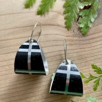 Vintage Tin Black Plaid 'Hoops' with Sterling Ear Wires
