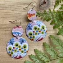 Vintage Tin – Pink Floral Inspired 2 Disc Earrings